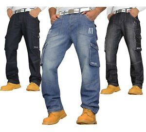 Mens Cargo Combat Jeans Casual Work Heavy Denim Pants Trousers **With Belt**