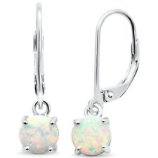 Round White Opal Lever Back .925 Sterling Silver Earrings