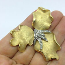 Vintage FLOWER PIN BROOCH Clear Rhinestone Gold Tone Costume Jewelry
