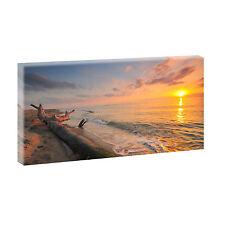 Sundown Nordsee- Bild Strand Meer Leinwand Poster Modern Design 80 cm*40 cm 547