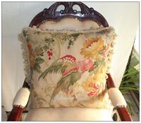 """Antique Decor PARROT Aubusson Tapestry Pillow 20"""" WOOL BIG FLOOR Chair Cushion"""