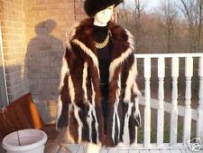 Rare Unique Designer brown & white skunk Fur Coat Jacket stroller M 4-10