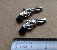 Dos pistolas de juguete miniatura, Casa De Muñecas Miniaturas, Accesorio de escala 1.12.