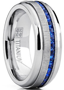 Eternity Titanium Wedding Band Engagement Ring Simulated Sapphire CZ