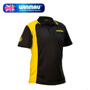 Winmau Wincool 2 Breathable Darts Shirt, Black & Yellow in XLarge