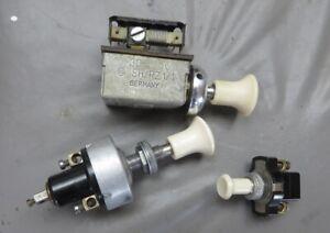 Set of 3 Porsche 356 356A Ivory Dash Switches - Fogs Lights Heat Accessories