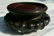More details for fine carved antique 19thc chinese rosewood vase~figure stand~base 3.75