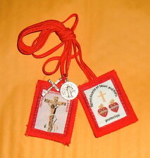 Passion Red SCAPULAR w/ Red Cord NEW 2 Medals Crucifixion Twin Hearts Catholic