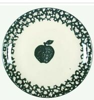 "Tienshan Folk Craft Stoneware Set of (2) Apple Green Sponge 10.25"" Dinner Plates"