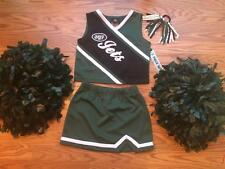 NEW YORK JETS Cheerleader OUTFIT HALLOWEEN costume 14 DELUXE POM POMS UNIFORM