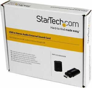 StarTech.com USB Sound Card - 3.5mm Audio Adapter - External Sound Card - Black