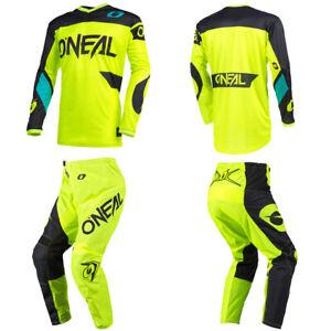 O'Neal Element Neon Yellow Jersey Pants motocross dirt bike gear package bundle