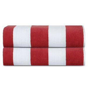 Premium Luxury Cotton Beach Pool Bath Towels 2 Pack Set, Cabana Red