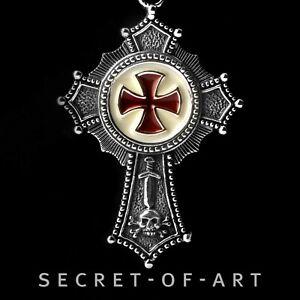 Tempelritter Anhänger Knights Templar Freimaurer in Silber 925 Templerkreuz rot