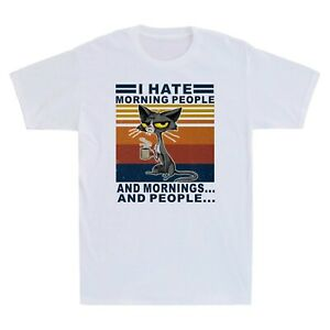 Coffee I Hate Morning People And Mornings And People Black Cat Lover T-Shirt