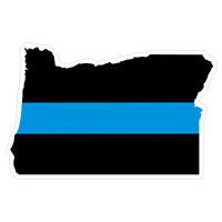 Oregon OR State Thin Blue Line Police Sticker / Decal #214 Made in U.S.A.
