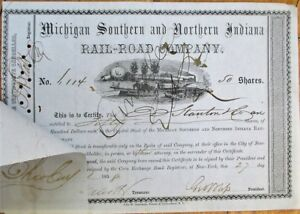 Michigan Southern & Northern Indiana Railroad 1858 Stock Certificates: 20 PIECES