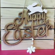 Happy Easter Sign Decoration Bunny Cutout Gisela Graham Fretwork Rabbit Vintage