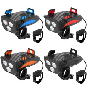 4 in1 Bicycle LED 400LM Headlight Power Bank Mobile Phone Rack Holder Alarm Bell