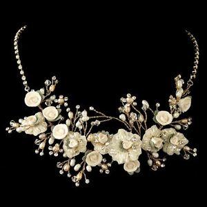 Gold Rum Freshwater Pearl Austrian Crystal Porcelain Rose Bridal Necklace