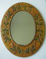 "Lacquered Folk Art Mirror Signed ""AMS"" Hand Crafted Oval Scroll Floral Design"