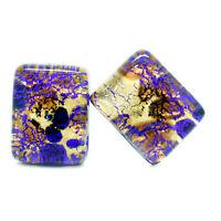 Cufflinks Murano Glass Blue Gold Brown Rectangular Handmade Venice 2cm x 1.5cm