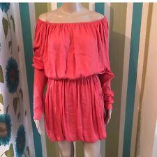 All Saints Solstice Dress Silk Coral Pink Orange 10 Boho Festival Summer..
