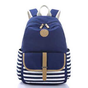 Sunborls Canvas Navy(Blue) Stripe School Bag Unisex Lightweight Backpack
