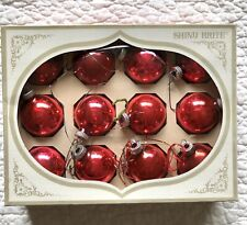 """Vintage Shiny Brite Glass Ornaments - 1 3/4"""" inch - Red Set of 12 - Made in Usa"""