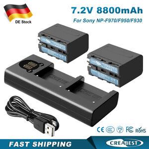 2Pack 8800mAh 7.2V NP-F970 Akku + Dual Ladegerät Für Sony NP-F960 F990 F930 F950