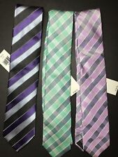 Lot of 3 NWT $128 SAKS FIFTH AVENUE Mens Silk Necktie Tie Italy
