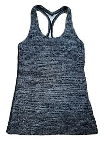 Lululemon Women's * 4 * Black and White Tank Top Yoga Gym Cycle Exercise Stretch