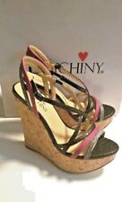 Luichiny Betty Max Inne Sandals Size 8 Black Pink Silver Sexy High Wedges New!