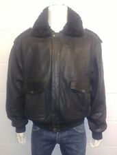Helstons Made in France A2 Style Bomber Jacket. 100% Leather faux fur collar