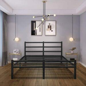Full Bed Frames with Headboard,Black 14 Inch Metal Platform Bed Frame with Stora