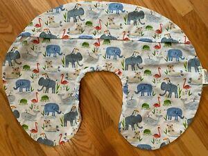 Baby Original Boppy Removable Pillow Cover Slipcover Nursing Zoo Animals - White