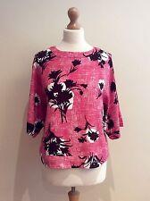 Boden Top Size 12 Pink Brown Floral Zip