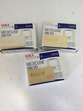 3 Genuine OKI Microline 52107001 Black Cartridge Ribbon 520/521 - NEW