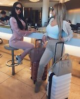 Womens ladies luxury pink velvet suede cropped two piece zipper tracksuit set S