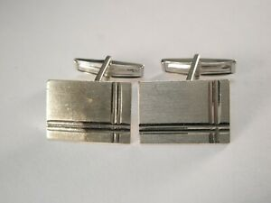 -SOLID 14K WHITE GOLD (585 ITALY) Vintage Cuff Links for scrap minor bend on one