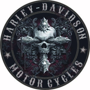 SKULL AND CROSS HD STICKER DECAL 105 MILL ROUND