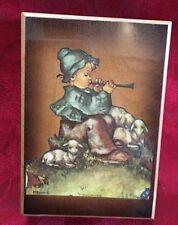 Schmid Brother Hummel Wood Musical Trinket Box Boy Playing Flute 1973 Italy Vtg
