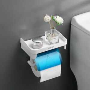 Bathroom Multifunction Roll Tissue Paper Holder With Shelf Plastic Materials New