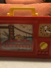 1976 Vintage Blue Box Musical Wind Up Toy Tv Snd Clock. Plays Its S Dmall World