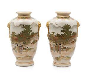 Pair Antique Satsuma Ware Pottery Vases by Hakusan - Japanese Meiji c1880