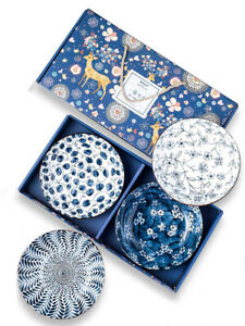 Japanese Chinese Style Round Plates Gift Set of 4 - UK Seller, Fast Delivery