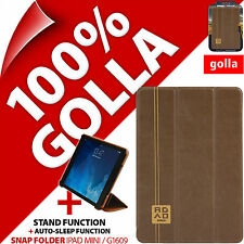 Golla Road Brown Slim Snap Folder with Stand Folio Cover Apple iPad Mini 1 2 3