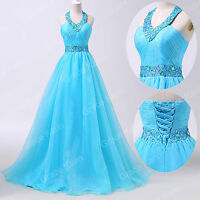Blue Long Prom Dress Beaded Formal Pageant Ball Gown Party Evening Wedding Dress