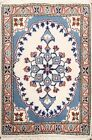 Vintage IVORY Geometric Nain Hand-knotted Area Rug Wool Oriental Carpet 2'x3'