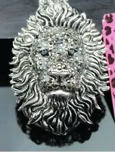 Betsey Johnson Necklace Tiger Lion Silver  Tiger Crystals Bling